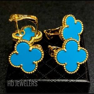Jewelry - Turquoise Four Leaf Clover Flower Stud Earrings